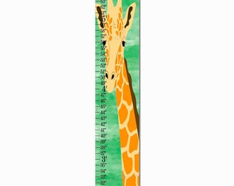 Giraffe Safari Jungle Green Watercolor Canvas Growth Chart, Height Chart, Ruler