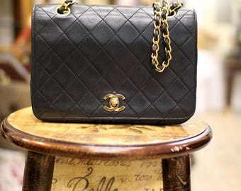Vintage Chanel Quilted Small Flap Bag Rare Single Double Chain Style From 1986