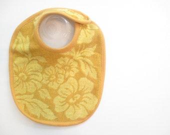 EcoBib--Adjustable Snap Closure--Vintage Yellow Floral Design--Ready to Ship