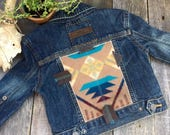 Custom Listing // Cheyenne Hipster Jean Jacket 4T // Turquoise Pendleton Leather Cross // Rosebud Originals