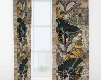 "Vintage Postcard BUTTERFLY Window Curtains 50"" x 84"" Bedroom drapes Beige, Black, Olive, Yellow, Brown, Mauve, Grey, Romantic, Antique style"