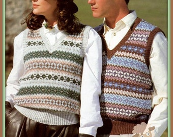 PDF Knitting Pattern for His and Hers Fair Isle - Nordic Waistcoats/Slipovers - Instant Download