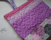 Quilted Patchwork Tote in pinks and purples