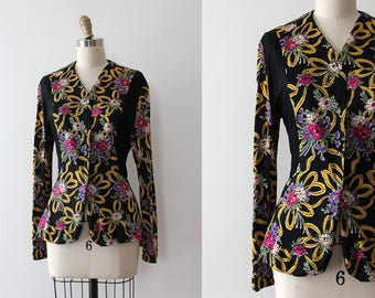 vintage 1940s blouse // 40s rayon jersey floral top