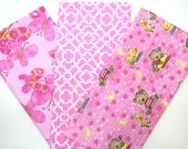 Clearance 3 Pack of Flannel Fabric Fat Quarters in a Bundle of Bright Pink Teddy Bear and Butterfly Prints