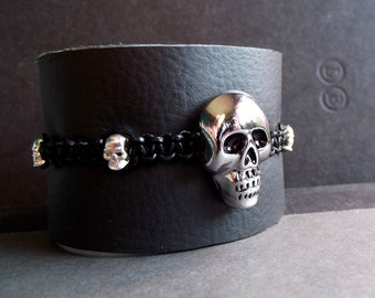 Post Apocalyptic Cuff, Men's Black Leather Bracelet, Zombie Apocalypse Jewelry, Gothic Skull Wrap Bracelet, Gender Neutral Biker Accessory