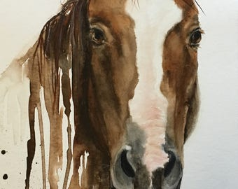 Horse painting, equestrian art, ranch painting, Cowboy Original Watercolor Painting - brown, rust, black, gray