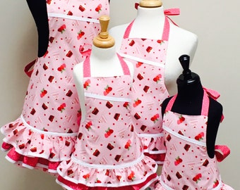 Reversible Mommy and Me x 3 Pink Cupcakes and Polka Dots Ruffled Apron Set
