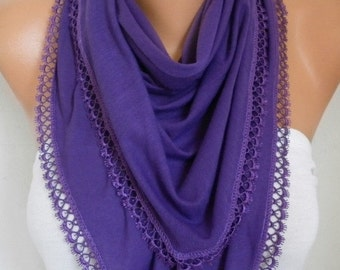 ON SALE --- Purple Combed Cotton Scarf,Fall Shawl Scarf Cowl Gift Ideas For Her Women Fashion Accessories Women Scarves