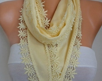 ON SALE --- Light Yellow Pashmina Scarf, Cowl, Necklace, Bridesmaid Gift,Gift Ideas For Her, Women Fashion Accessories