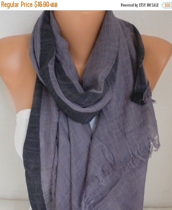 ON SALE --- Gray Linen Cotton Scarf, Summer Shawl, Man Men Scarf,Unisex, Cowl Oversized Gift Ideas For Her, For Him,Women Fashion Accessorie