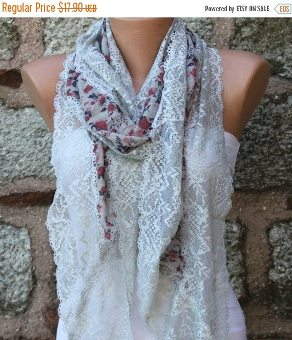 ON SALE --- Floral Lace Scarf ,Summer Scarf,Wedding Scarf, Cowl Bridesmaid Gifts Bridal Accessories Gift Ideas For Her Women's  Fashion Acce