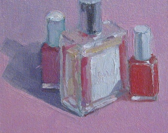 Mother's Day Gift for Her or You Pink Nail Polish Still Life Original Oil Painting Texture Brushstroke Modern Impressionist Jennifer Boswell