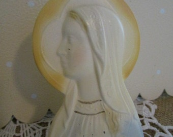 Virgin Mary Cast Metal    Madonna   Religious Figurine    Signed Overbach