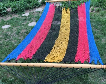 Double Hammock with Spreader Bars - Blue, Red, Black and Gold