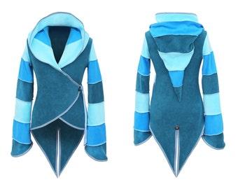 3 Tone fleece 'Azimae' Tail Jacket. 6 stripe Positively Pixie Hood/6 stripe Sidhe Sleeves