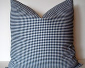 Blue Check Pillow Cover French Country Pillow Blue Gingham Pillow Farmhouse Check Pillow