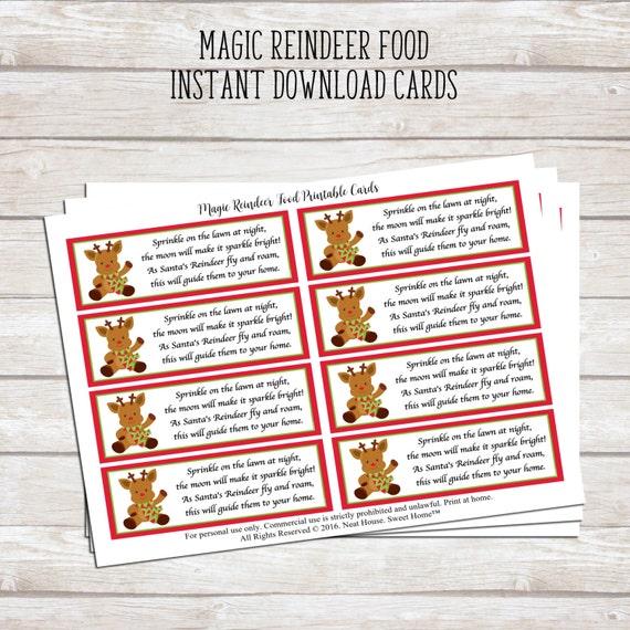 magic reindeer food poem printable tags for christmas favors