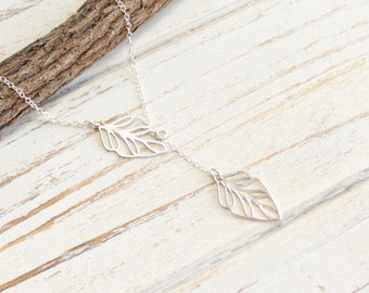 Sterling Silver Leaf Lariat Necklace