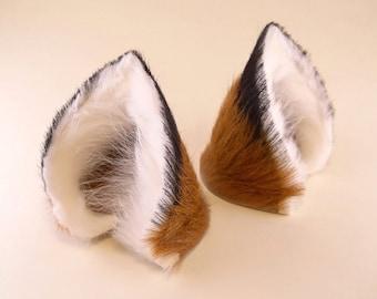 Brown Black White Fur Leather Fox Wolf Dog Ears Inumimi Kitsune Fairy Cosplay Furry Goth Fantasy LARP Costume Pet Play