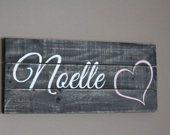 Baby Name Sign. Custom Nursery Sign. Personalize. Reclaimed Pallet Wood Baby girl Baby Shower Wood Name Sign. Gray White Pink or Customize