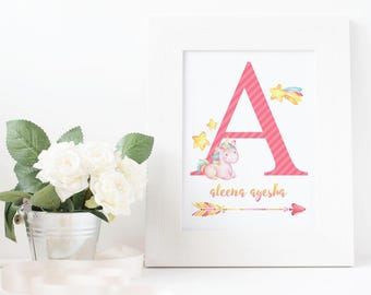 Unicorn Letter Nursery Wall Art, Customized with name of the baby, Twinkle Twinkle, shooting star
