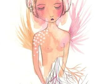 Angel of broken dreams original art gouache painting pink