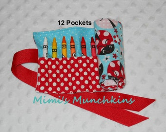 Kids Crayon Roll Up, Ladybug, Crayon Holder, Travel Roll Up, Entertainment for Kids, READY TO SHIP