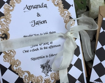 Alice in Wonderland wedding Invitation FREE SHIPPING