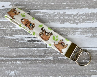 Sloth Wristlet Key Fob - Cute Sloths Keychain / Fancy Sloths Fabric / Beige Sloth Wristlet / Animal Cotton Key Fob / Trendy Sloth Lover Gift