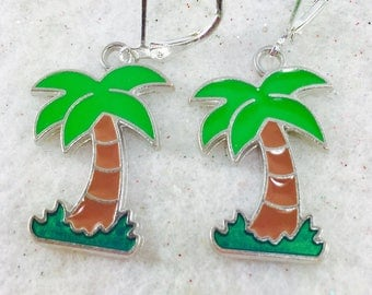 Palm Tree Earrings, Tropical Earrings, Tree Earrings, Summer Earrings, Beach Jewelry, Island Jewelry, Beach Earrings, Vacation Earrings