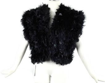 Vintage OSTRICH FEATHER VEST Deadstock with Tags Gillet Size Small