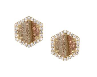 Rutilated Quartz Hexagon Pave Stud Earrings