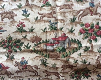 Vintage Original Sanderson Fabric with hunting scenes and Jacobean figures