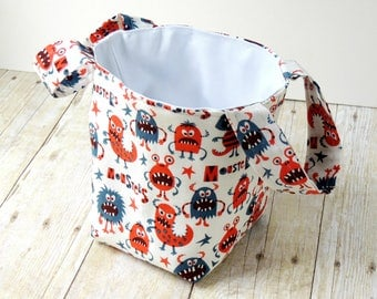 Monster Fabric Bucket - Storage Caddy - New Baby Gift - - Storage Basket - Toy Storage Solutions - Nursery Decor