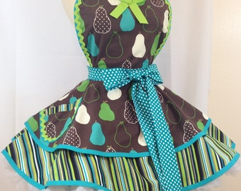 Retro Apron, Pears Galore Pin Up Apron, Woman's Apron, Teal and Green - Ready To ship