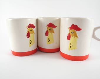 Vintage Rooster Chicken Mug Coffee Cup Holt Howard Retro Decor Farmhouse Kitchen White Red 1960s Set of 3