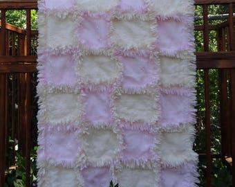 Spring/Summer Baby Girl Rag Quilt ~ Pink & Ivory Lightweight Baby Girl Rag Quilt ~ Eyelet Baby Rag Quilt