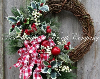 FREE SHIP THRU 12/12/16, Christmas Wreath, Holiday Wreath, Country French Christmas, Designer Holiday Wreath, Country Christmas Wreath