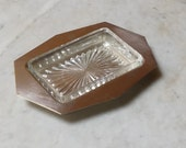 RESERVED For FAYE     Depression Glass Butter Dish with Starburst base and Art Deco Silver Tray
