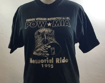 Motorcycle Shirt, Vintage Veteran Shirt, POW Shirt, Oregon Bikers, 90s Biker Tee, Vintage Bikers, Memorial Ride, 90s Biker Shirt, Vintage
