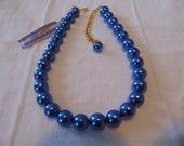 vintage marvella nwt blue pearls necklace 18 inchs
