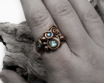 Labradorite ring, bare copper natural gemstones