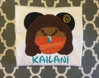 Moana Mouse head personalized applique Adult and Plus Size shirt