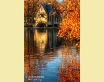 Autumn Landscape Photograph, Fall Foliage, Old Library and Reflection, Lake Afton, Yardley, Bucks County, Pennsylvania, Morning Light