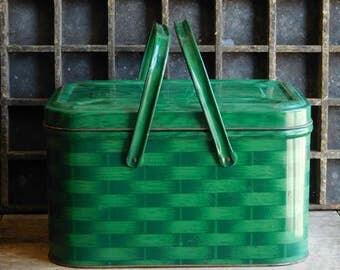Vintage Green Metal Picnic Basket, Basket Weave, Lake Cottage Decor