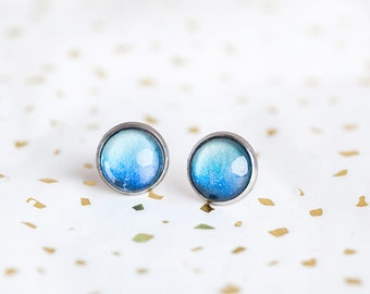Blue Ombre Studs, Blue, Ombre Studs, Blue Studs, Ocean Blue, Deep Blue, Puddle, Blue Earrings, Bees and Buttercups, Pretty blue earrings