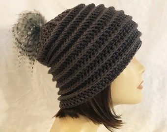 hat with faux fur pom pom,slouch,beanie,hat,hand crochet,made to fit teen and adults,dark gray with faux fur pom pom