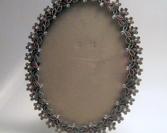 Vintage Rhinestone Oval Picture Frame
