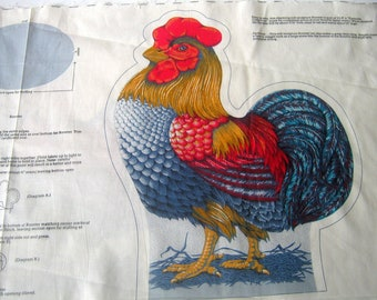 Vintage Rooster Fabric Panel,, Farmlife Collection, Cranston Print Work Co.